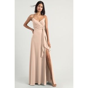 Jenny Yoo Amara chiffon Maxi Dress soft Blush